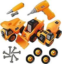 ToyVelt Construction Take Apart Trucks STEM Learning Toys, W Toy Drill – Dump..