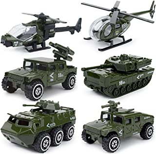 JQGT Diecast Military Vehicles Army Toy 6 in 1 Assorted Metal Model Cars Fighter Tank Attack Helicopter Panzer Playset for Kids Toddlers