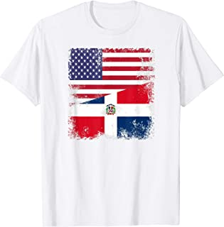 Half Dominican Flag T-Shirt | Vintage USA Gift