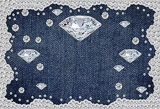 Yeele 8x6ft Diamond Denim Style Backdrop for Photography Jeans Inlaid Rhinestone Background Birthday Party Decoration Woman Kids Photo Booth Shoot Vinyl Studio Props
