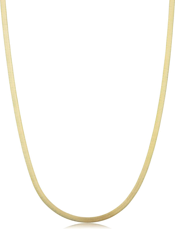 Kooljewelry 10k Yellow Gold 2.2 mm Herringbone Chain Necklace (16, 18, 20, 22, 24, 30 or 36 inch)