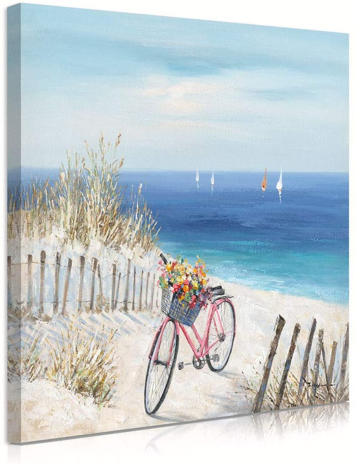 Sailboat Decor Bicycle Wall Art: Sandy Path to Ocean Artwork Coastal Fence Sailboat Pictures Grass Painting Teal Seascape Bike Basket with Daisy Flower Nautical Decor Canvas Print for Bedroom 24