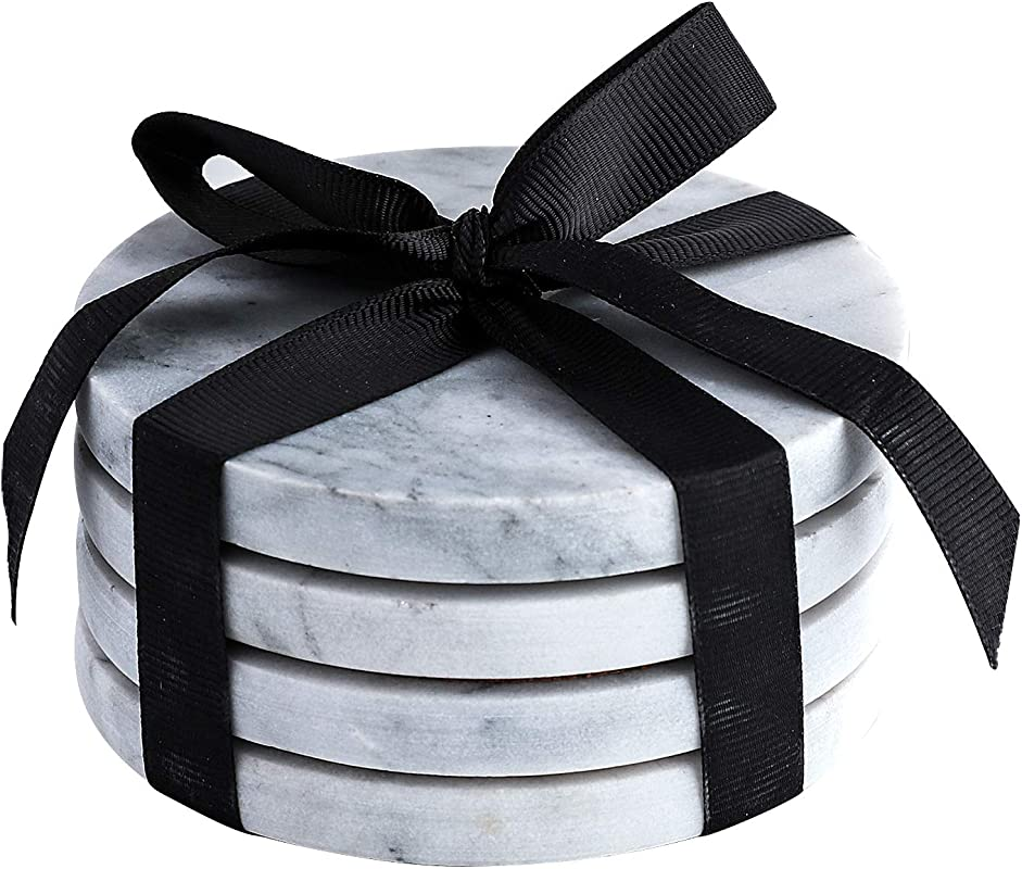 Marble Coaster Set With Cork Back DIA 3 9 Inch Natural Stoneware Pack Of 4 Gray