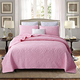 Brandream Luxury Pink Bedding Set 3 Piece Damask Embroidery Coverlet Quilt Set Queen Size 100% Cotton