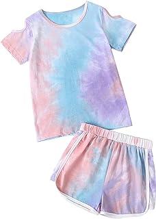 Pajamas Sets Girls 100% Cotton Shorts Tees Shirts Cold...
