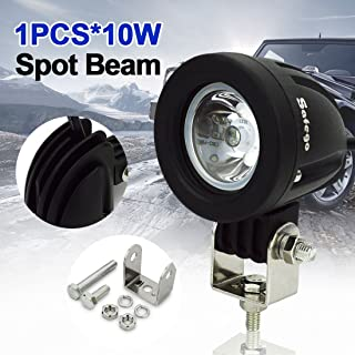 LED Pods 4 Inch Light Bar SAFEGO 10W Round Spot Beam 30 °Degree Cree Led Work Light Lamp Off Road Fog Driving Lights for Truck Jeep Boat 4X4 ATV Tractor,1 Year Warranty