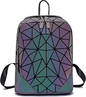 Women Geometric Luminous Backpack Handbag Fashion Shoulder Bag Lingge Flash Travel tote