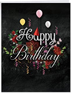 8.5 x 11 Inch Creative Chalk and Roses - Birthday Card (w/Envelope) - Happy Birthday Blackboard Greeting with Balloons, Flowers, Party Hats and Streamers - Large Appreciation Gift J6479CBDG