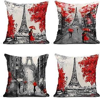 ArtSocket Set of 4 Throw Pillow Covers Oil Painting Paris European City Landscape France Eiffel Tower Black Decor Linen Pi...