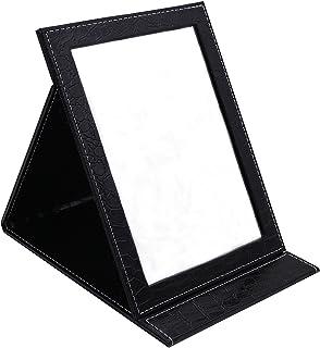 HAPPY CY 化粧鏡 折りたたみ式鏡 スタンドミラー 卓上スタンドミラー? 携帯 鏡 クロコ柄 プレゼント? 上質PUレザー使用