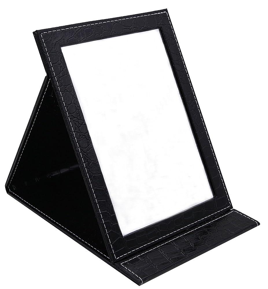 まともなアパートオンHAPPY CY 化粧鏡 折りたたみ式鏡 スタンドミラー 卓上スタンドミラー? 携帯 鏡 クロコ柄 プレゼント? 上質PUレザー使用