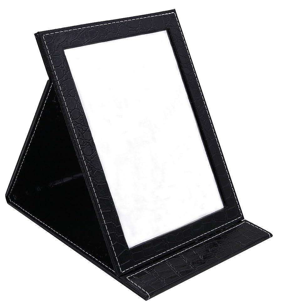 委任レガシーマーベルHAPPY CY 化粧鏡 折りたたみ式鏡 スタンドミラー 卓上スタンドミラー? 携帯 鏡 クロコ柄 プレゼント? 上質PUレザー使用