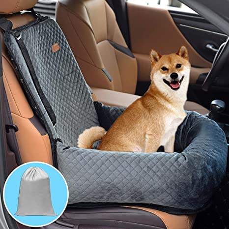 BOCHAO Dog Car Seat Pet Booster Seat Pet Travel Safety Car Seat,The Dog seat Made of Materials is Safe and Comfortable, and can be Disassembled for Easy Cleaning: image