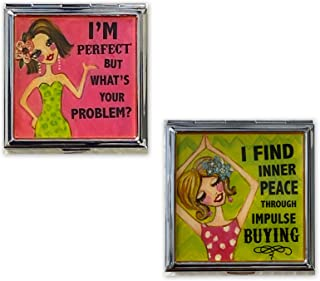 2 Cute Funny Double Sided Compact Mirror Humorous & Snarky Sassy Sayings Chic Artsy Pocket & Purse Mirror – I'M Perfect BU...