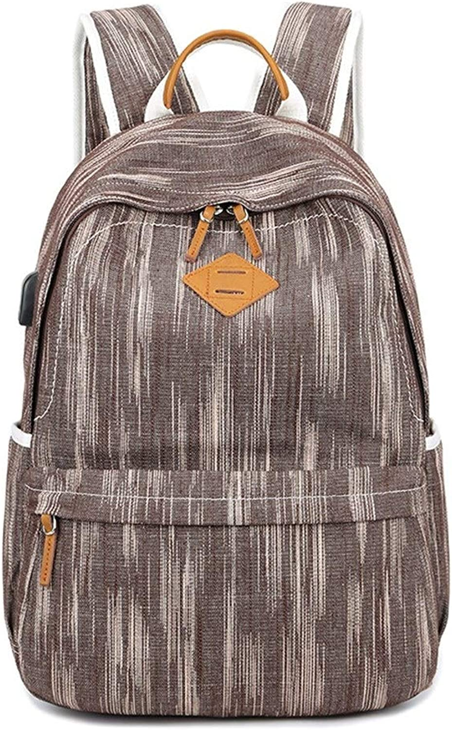 Backpack, USB Backpack Female Student Canvas Backpack Male Leisure Outdoor Travel Computer Bag (color   Coffee)
