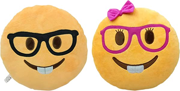 2 Pack Nerd And Lady Nerd Emoji Smiley Emoticon Cushion Pillow Stuffed Plush Toy Doll Poop Emoji Face Bed Pillow Home Living Room Decoration Pillows