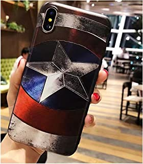 I Phone Case Marvel Super Hero Superman Captain America 3D Relief Case for iPhone Xs Max Soft TPU Phone Cases for i Phone (Captain America/I Phone XS Max)