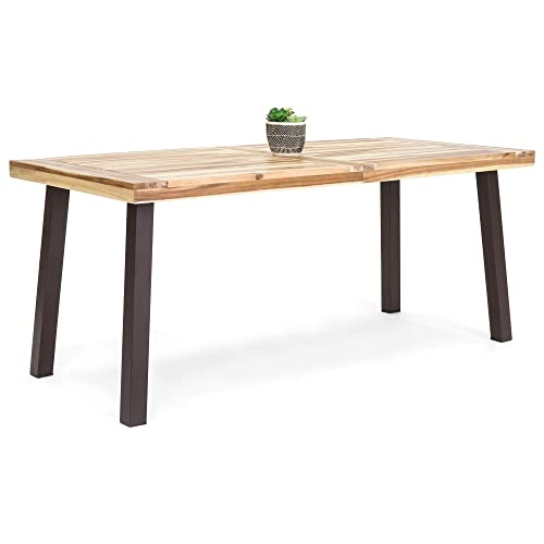 Best Choice Products 6 Person Indoor Outdoor Patio Rustic Acacia Wood Picnic Dining Table W