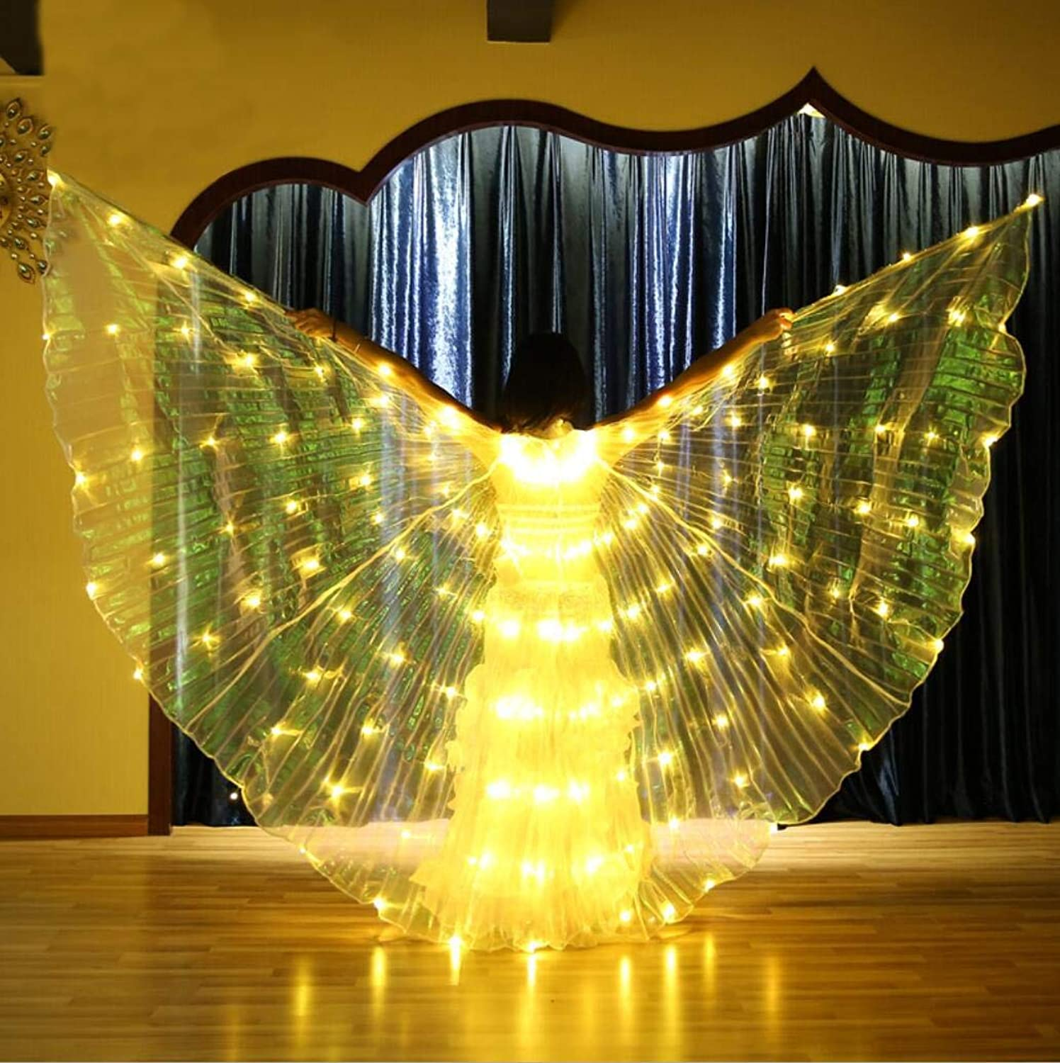 Dance Fairy Opening Belly Dance LED Isis Wings with Sticks RodsWings 280 LED Luminous Light Up Stage Performance Props Passed CE, FCC Certification4color Discoloration