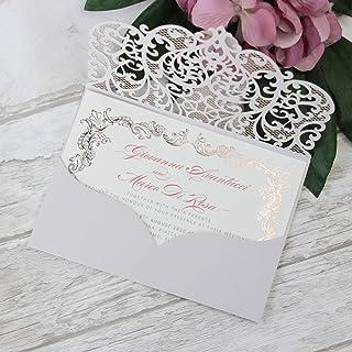 50 CARTE CONFEZIONE Fai da te apribile taglio laser inviti matrimonio partecipazioni matrimonio grigia chiara carta con busta