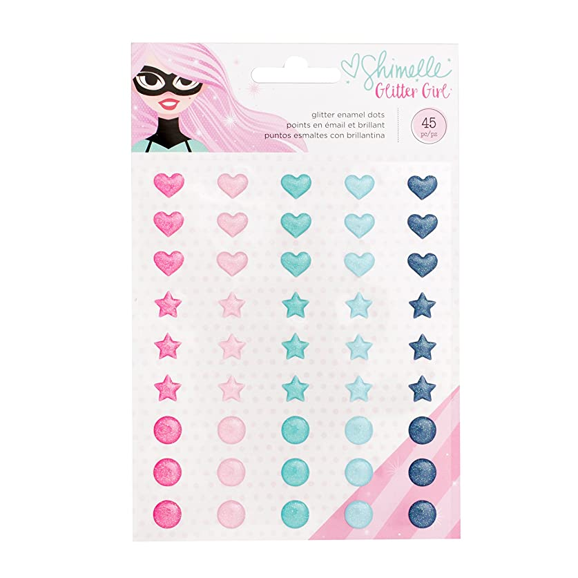 American Crafts Shimelle Glitter Girl 45 Piece Enamel Dot smewwelehe11753