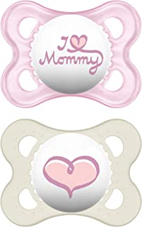 MAM Pacifiers, Baby Pacifier 0-6 Months, Best Pacifier for Breastfed Babies, 'I Love Mommy' Design Collection, Girl, 2-Count