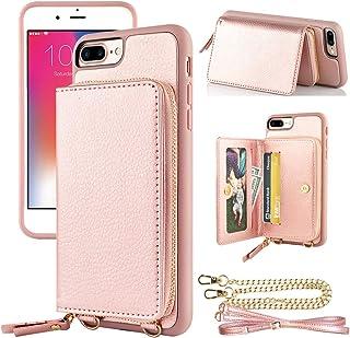 LAMEEKU iPhone 8 Plus Zipper Wallet Case, iPhone 7 Plus Wallet Case, iPhone 8 Plus Card Holder Case with Strap, Leather Pu...