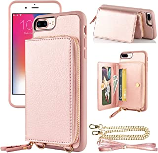 LAMEEKU iPhone 8 Plus Zipper Wallet Case, iPhone 7 Plus Wallet Case, iPhone 8 Plus Card Holder Case with Strap, Leather Purse Credit Card Slot Protective Cover for iPhone 8 Plus/7 Plus - Rose Gold