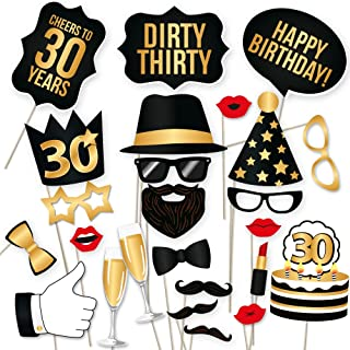 30th Birthday Photo Booth Props – Dirty Thirty Party Decoration Supplies for Him and Her, Funny Thirtieth Bday Photobooth Backdrop Signs for Men and Women, Fabulous Black and Gold Décor – 34 Pieces