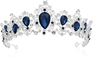 SWEETV Royal CZ Crystal Tiara Wedding Crown Princess Headpieces Bridal Hair Accessories, Sapphire+Silver