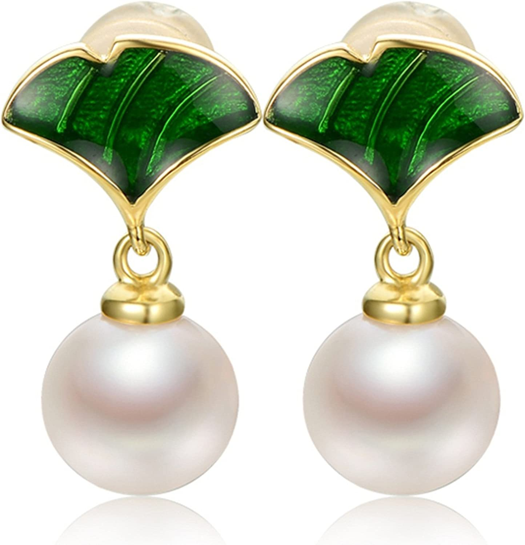 Epinki 925 Sterling Silver Women Earrings Pearl Earrings Flowers Round Earrings Ladies White Green