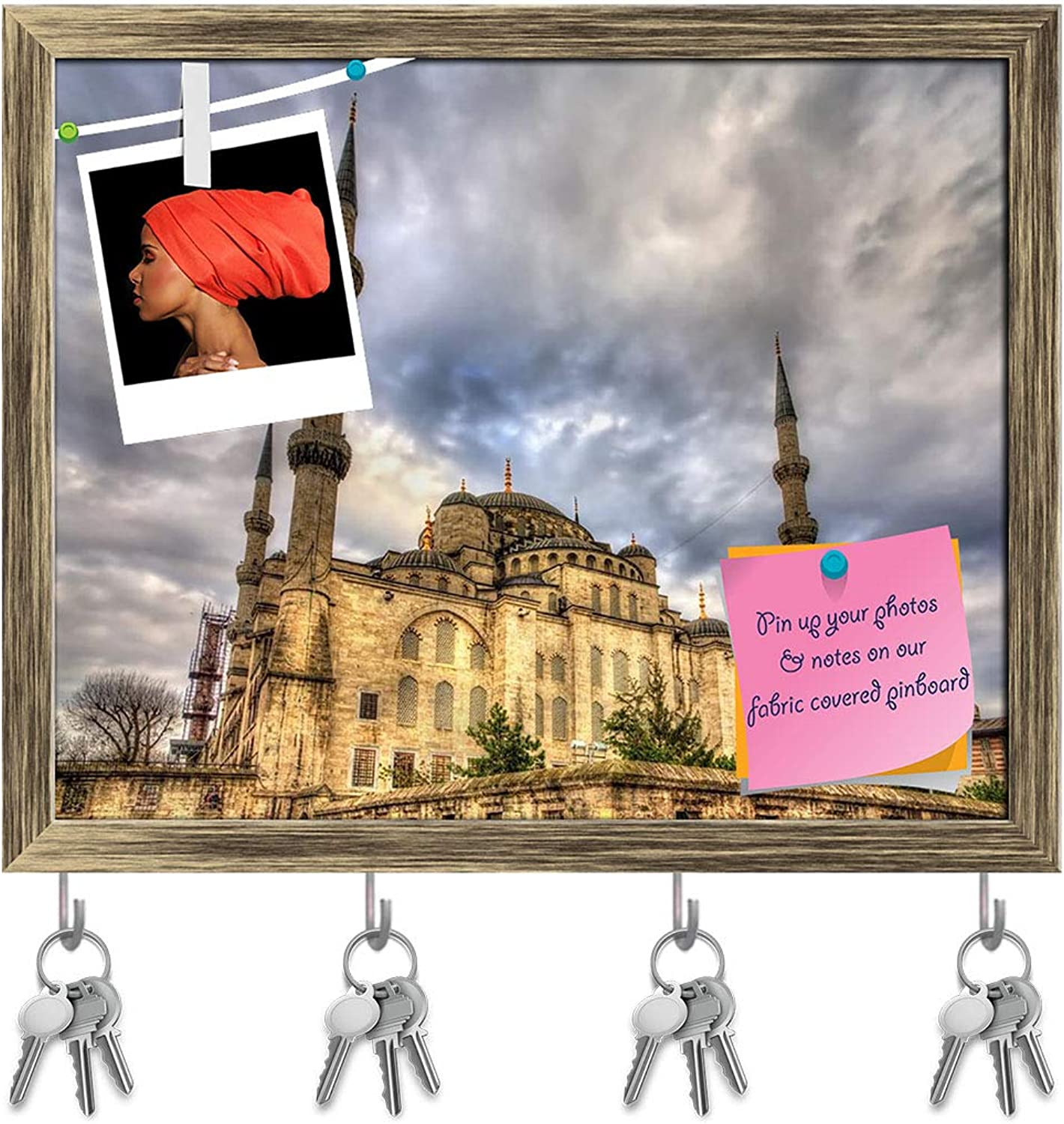 Artzfolio Sultan Ahmet Mosque in Istanbul, Turkey Key Holder Hooks   Notice Pin Board   Antique golden Frame 19.8 X 16Inch