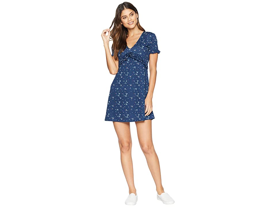 Juicy Couture Floral Print Ruffle A Line Dress (Regal Forget Me Not) Women