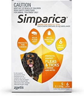 Simparica for Small Dogs 5.1 to 10 Kg (Orange) Pack 6 Chews