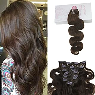 Moresoo 16 Inch Body Wave Clip in Human Hair Extensions Full Head 7 Pieces Set Short Brown Silky Brazilian Hair 120g