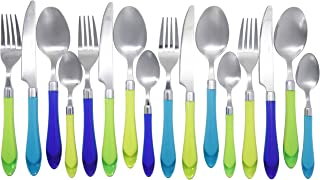 Unique Brilliant Colored Mix & Match Cutlery Set and Eating Utensils with Translucent Handles set of 16 pieces, Crystal Sea Green Blue Cutlery Assortment