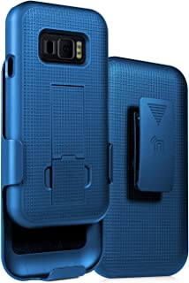 Case with Clip for Galaxy XCover FieldPro, Nakedcellphone [Cobalt Blue] Kickstand Cover with [Rotating/Ratchet] Belt Hip H...