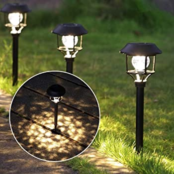 LED Solar Powered Light White 6leds Control Garden Path Way Wall Lamp Waterproof
