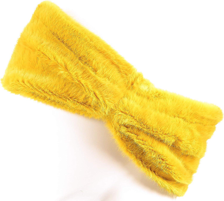 Hand By Hand Solid Faux Fur Knot Headband Winter Headwrap Fuzzy Earwarmer