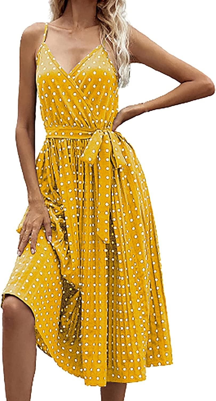 Summer Dresses Women Dot Print Long Sleeve V-Neck Casual Sundress Dress Maxi Dress Sundress Plus Size Beach Sexy Weddin