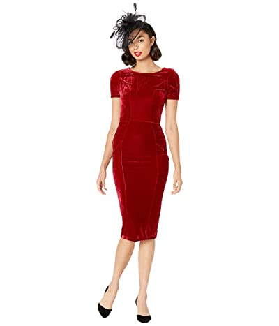 Unique Vintage 1960s Short Sleeve Stretch Mod Wiggle Dress (Burgundy Velvet) Women
