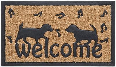 不二貿易(Fujiboeki) 玄関マット ラバー&コイヤーマット ドッグ ブラウン 幅60×奥行35cm 4個セット 34822