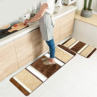 HEBE Kitchen Rugs Set 2 Piece Machine Washable Non-Slip Kitchen Mats and Rugs Runner Set Rubber Backing Indoor Outdoor Entry Floor Carpet Door Mat Runner (18