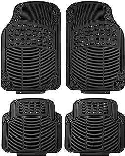 Universal Car Floor Mat Front/Rear 4-Piece Full Set Ridged Heavy Duty Rubber Car Floor Mat - (Black)