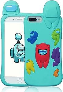 Oqplog Case for iPhone 8 Plus/7 Plus/6 Plus/6S Plus Cartoon Cute 3D Kawaii Fun Blue Kids Design Silicone Cover, Unique Cool Funny Fashion Cases for iPhone 8 Plus 5.5