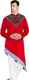 Lakkar Haveli Men's Mirror Work Kurta Casual Cotton Shirt Tunic Embroidered Red Color Shirt Plus Size
