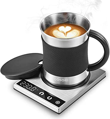 COSORI Coffee Mug Warmer & Mug Set,Electric 24Watt Beverage Cup Warmer for Desk Home Office Use,304 Stainless Steel 17oz Mug lid,Touch Tech & LED Backlit Display,Ideal for Gift,Coffee,Tea, Hot Cocoa