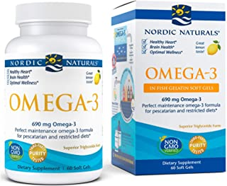 Nordic Naturals Omega-3 in Fish Gelatin, Lemon Flavor - 690 mg Omega-3 - 60 Fish Gels - Fish Oil - EPA & DHA - Immune Supp...