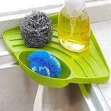 INOVERA (LABEL) Kitchen Sink Corner Organizer Wash Basin Sponge Soap Scrub Brush Storage Holder Rack with Suction Cup, Green