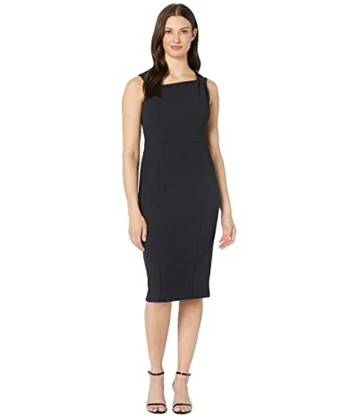 Donna Morgan Sleeveless Asymmetric Neck Sheath Crepe Dress (Marine Navy) Women